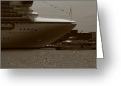 Cruise Ships Greeting Cards - Dwarfed Greeting Card by Christopher Kirby