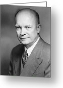 President Eisenhower Greeting Cards - Dwight Eisenhower Greeting Card by War Is Hell Store