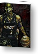 Celebrity Drawings Greeting Cards - Dwyane Wade Greeting Card by Maria Arango