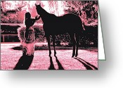 Silhouettes Greeting Cards - Dylly and Lizzy Pink Greeting Card by Valerie Rosen
