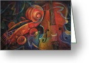 Music Artists Greeting Cards - Dynamic Duo - Cello and Scroll Greeting Card by Susanne Clark
