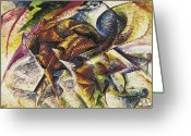 Abstract Painting Greeting Cards - Dynamism of a Cyclist Greeting Card by Umberto Boccioni
