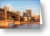 Metropolitan Greeting Cards - Eads Bridge at St Louis Greeting Card by Semmick Photo