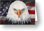 Stars And Stripes Mixed Media Greeting Cards - Eagle And The Flag Greeting Card by Arline Wagner