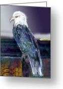 Eagle Pastels Greeting Cards - Eagle at Sunset Greeting Card by Lydia L Kramer