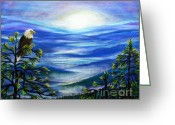 Eagle Pastels Greeting Cards - Eagle Blue Ridge Mountain Sunrise Greeting Card by Patricia L Davidson