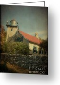 Door County Landmark Greeting Cards - Eagle Bluff Lighthouse Greeting Card by Joel Witmeyer