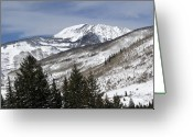 Snow Capped Greeting Cards - Eagle County Colorado Wintertime Greeting Card by Brendan Reals