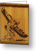 Scroll Saw Sculpture Greeting Cards - Eagle Dancer Greeting Card by Russell Ellingsworth