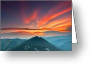 Mountain Summit Greeting Cards - Eagle Eye Greeting Card by Evgeni Dinev