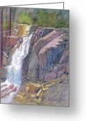 Eagle Pastels Greeting Cards - Eagle Falls Greeting Card by Reif Erickson