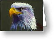 Eagle Pastels Greeting Cards - Eagle head Greeting Card by Marcus Moller