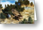 Hare Greeting Cards - Eagle Hunting Hare Greeting Card by Pg Reproductions