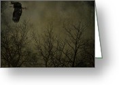 Horns Greeting Cards - Eagle In The Mist  Greeting Card by Jerry Cordeiro