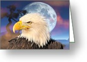 Marty Koch Greeting Cards - Eagle Moon Greeting Card by Marty Koch