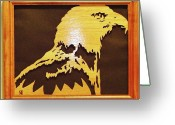 Scroll Saw Sculpture Greeting Cards - Eagle Greeting Card by Russell Ellingsworth