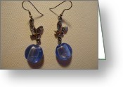 Earrings Jewelry Greeting Cards - Eagle Soars Blue Sky Earrings Greeting Card by Jenna Green