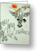 Tribal Drawings Greeting Cards - Eagle Spred Greeting Card by Pete Maier