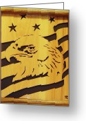 Scroll Saw Sculpture Greeting Cards - Eagle with Flag Greeting Card by Russell Ellingsworth
