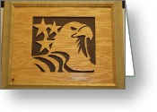 Scroll Saw Sculpture Greeting Cards - Eagle with Stars Greeting Card by Russell Ellingsworth