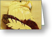 National Sculpture Greeting Cards - Eaglehead with Two Feathers Greeting Card by Russell Ellingsworth
