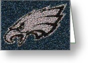 Bottle Cap Greeting Cards - Eagles Bottle Cap Mosaic Greeting Card by Paul Van Scott
