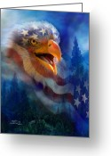 Eagle Art Greeting Cards - Eagles Cry Greeting Card by Carol Cavalaris