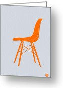 Vintage Chair Greeting Cards - Eames Fiberglass Chair Orange Greeting Card by Irina  March