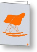 Vintage Chair Greeting Cards - Eames Rocking chair orange Greeting Card by Irina  March