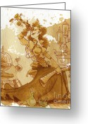 Steampunk Greeting Cards - Earl Grey Greeting Card by Brian Kesinger