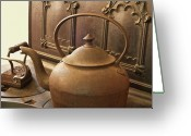 Troy Greeting Cards - Early American Tea Pot Greeting Card by Michael Peychich