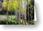 National Painting Greeting Cards - Early Autumn Aspen Greeting Card by Gary Kim