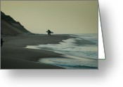 Surf Silhouette Greeting Cards - Early Birds Greeting Card by Alfredo Cinco