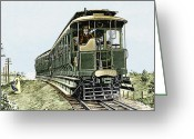 L.a. Woman Greeting Cards - Early Electric Train Greeting Card by Sheila Terry
