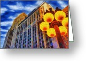Cityscape Digital Art Greeting Cards - Early Evening Lights Greeting Card by Jeff Kolker