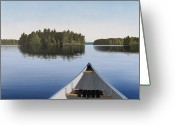 Trees Painting Greeting Cards - Early Evening Paddle  Greeting Card by Kenneth M  Kirsch