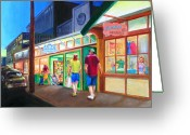 Store Fronts Greeting Cards - Early Evening Shoppers Greeting Card by Bob Newman