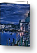 Places In Venice.venecia.venezia.venice Greeting Cards - Early Evening Venice Greeting Card by Tom Prendergast