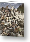 Wounded Warrior Greeting Cards - Early Human Warfare Greeting Card by Sheila Terry