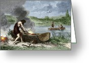 Humans Greeting Cards - Early Humans Building And Using Boats Greeting Card by Sheila Terry