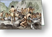 Humans Greeting Cards - Early Humans Working Flint Greeting Card by Sheila Terry