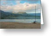 Hanalei Beach Greeting Cards - Early Morning - Hanalei Bay Greeting Card by Stephen  Vecchiotti