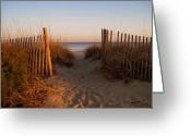 Beach Scene Greeting Cards - Early Morning at Myrtle Beach SC Greeting Card by Susanne Van Hulst