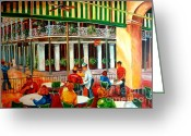 Cafe Greeting Cards - Early Morning at the Cafe Du Monde Greeting Card by Diane Millsap