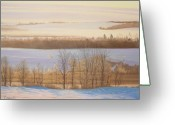 Early Pastels Greeting Cards - Early Morning Haze Greeting Card by Harvey Rogosin