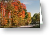 Red Fall Colors Greeting Cards - Early Morning in Door County Greeting Card by Sandra Bronstein