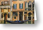 Venice Waterway Greeting Cards - Early Morning in Venice Greeting Card by Charlotte Blanchard