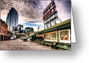 Tonemapped Greeting Cards - Early Morning Market Greeting Card by Spencer McDonald