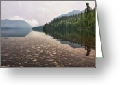 Glacier Greeting Cards - Early Morning on Lake McDonald II Greeting Card by Sharon Foster