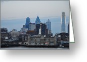 Delaware River Greeting Cards - Early Morning Philadelphia Greeting Card by Bill Cannon